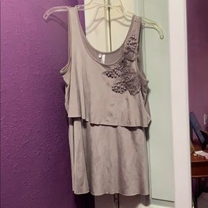 Beige Tank Top with Decorated Shoulder